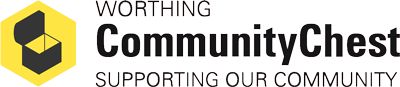 Grey text based logo including the words Worthing Community Chest Supporting Our Community