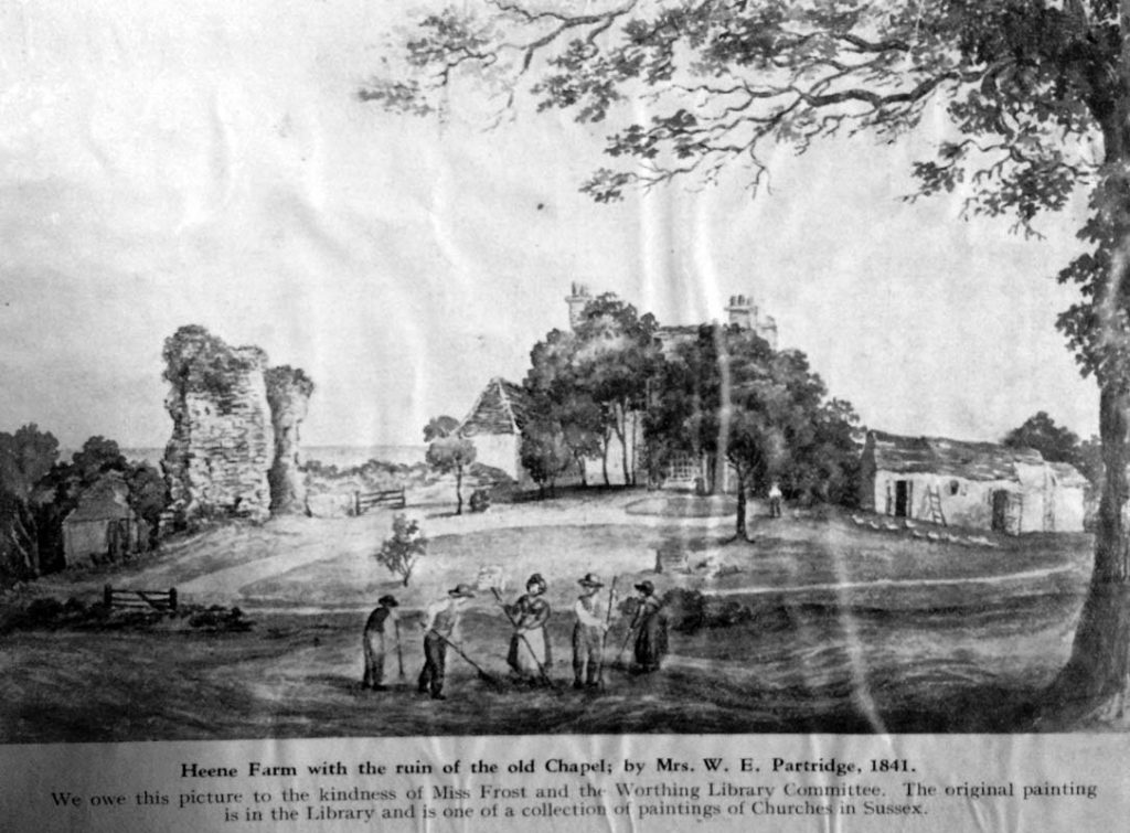 Painting of Heene Farm and Chapel ruins