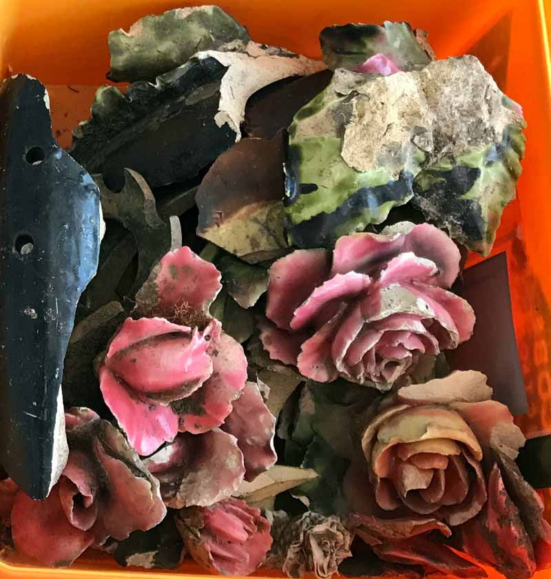 visible damage to pink ceramic roses