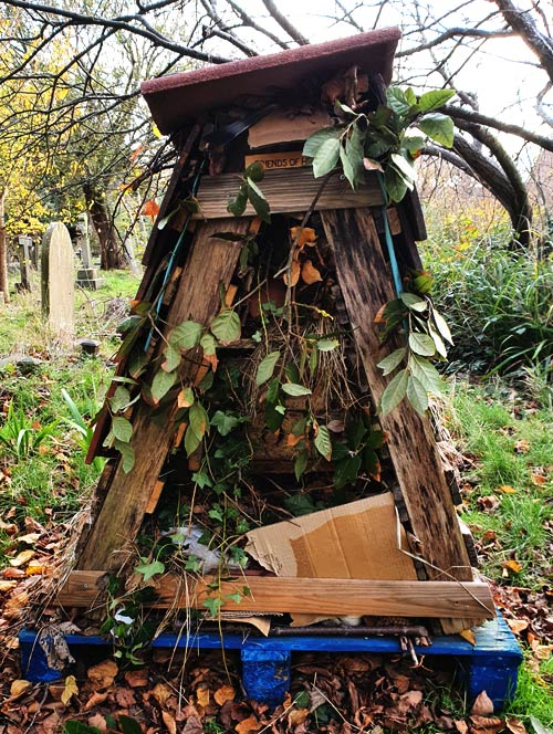 Heene Cemetery's northern bug hotel, also in winter dress, protecting its residents against the cold.