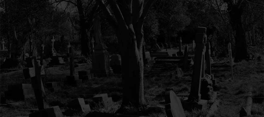 Heene Cemetery at night - winter scene