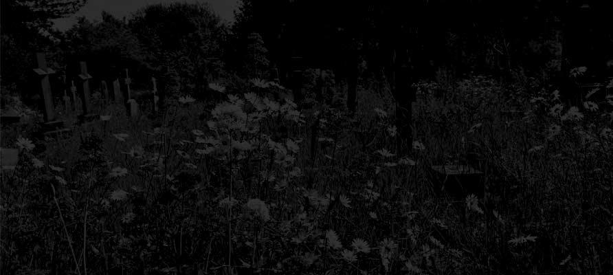 Heene Cemetery at night in summer