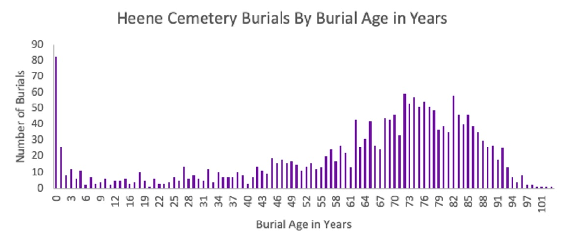 Data Study of Burials in Heene Cemetery by Burial Age in Years